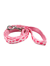 Pink Hearts Fabric Lead - Here at Urban Pup our design team understands that everyone likes a coordinated look. So we added a Pink Hearts Fabric Lead to match our Pink Hearts Harness, Bandana and collar. This lead is lightweight and incredibly strong.