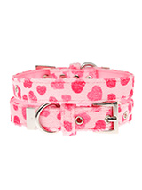 Pink Hearts Fabric Collar - This Pink Hearts collar is a perfect girly accessory. It is a contemporary style and the pattern is on trend. It is lightweight and incredibly strong. The collar has been finished with chrome detailing including the eyelets and tip of the collar. A matching lead, harness and bandana are available to...