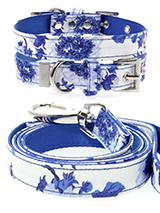 Blue Floral Bouquet Fabric Collar & Lead Set - Our Floral Bouquet pattern collar & lead set is a rich contemporary style and the floral pattern is right on trend. It is lightweight and incredibly strong. The collar has been finished with chrome detailing including the eyelets and tip of the collar. A matching harness and bandana are available to...