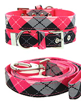 Pink Argyle Collar & Lead Set - Our Pink Argyle Collar & Lead Set is a traditional Scottish design which represents the Clan Campbell of Argyll in western Scotland. It is stylish, classy and never goes out of fashion. Used for kilts and plaids, and for the patterned socks worn by Scottish Highlanders since at least the 17th centur...