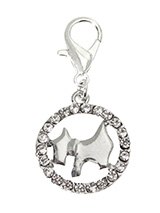 Diamante Circle Scottie Dog Collar Charm - Accent your pup's collar with our circular Scottie Dog Collar Charm, embellished with 22 clear Diamante crystals. The adorable dog shape lets everyone know who's the most fashionable pup on the block. Attaches to any collar's D-ring with a lobster clip. Measures approx. 3/4'' / 2cm wide.