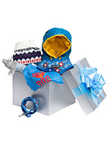 Pampered Boy Luxury Gift Box Hamper - A perfectly gift for that spoilt little boy, our gift-wrapped luxurious Gift Box Set features a preferred collection of ''Dashing in Blue'' clothing. Presented in a silver blue box with a large flamboyant blue ribbon this is the perfect gift for a new pup or a birthday boy, it's sure to make an impr...